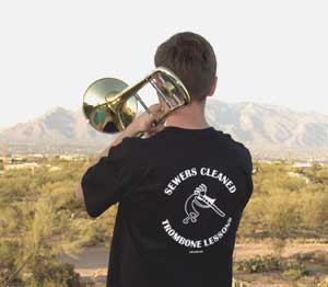Sewers Cleaned Trombone Lessons Shirt (back)
